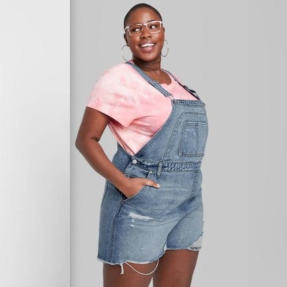 NEW wild fable denim jean shortalls overalls XXL
